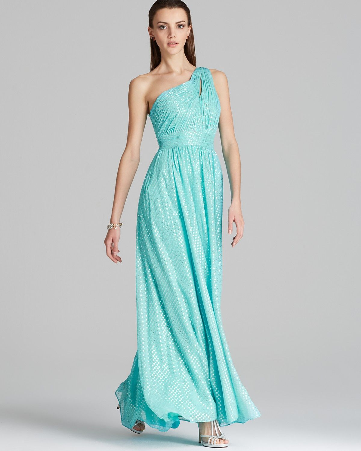 Aqua Gown One Shoulder Foil Silk Chiffon With Pleated Skirt Women Dresses Bloomingdale S Womens Dresses Gowns Silk Chiffon [ 1500 x 1200 Pixel ]