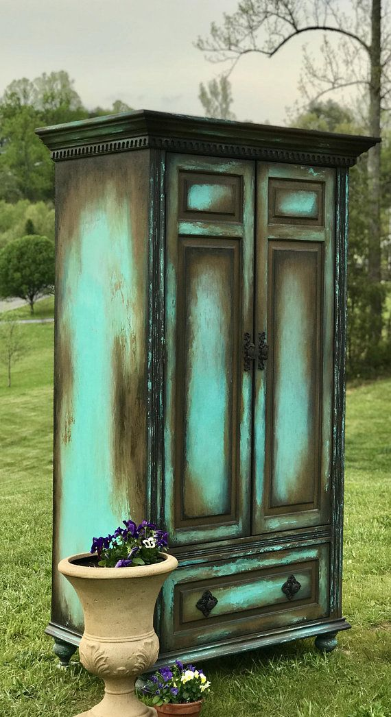 Photo of SOLD!!!  Boho Armoire Farmouse Painted Wardrobe Old World Media Console Shabby Chic Storage Cabinet French Country Hutch