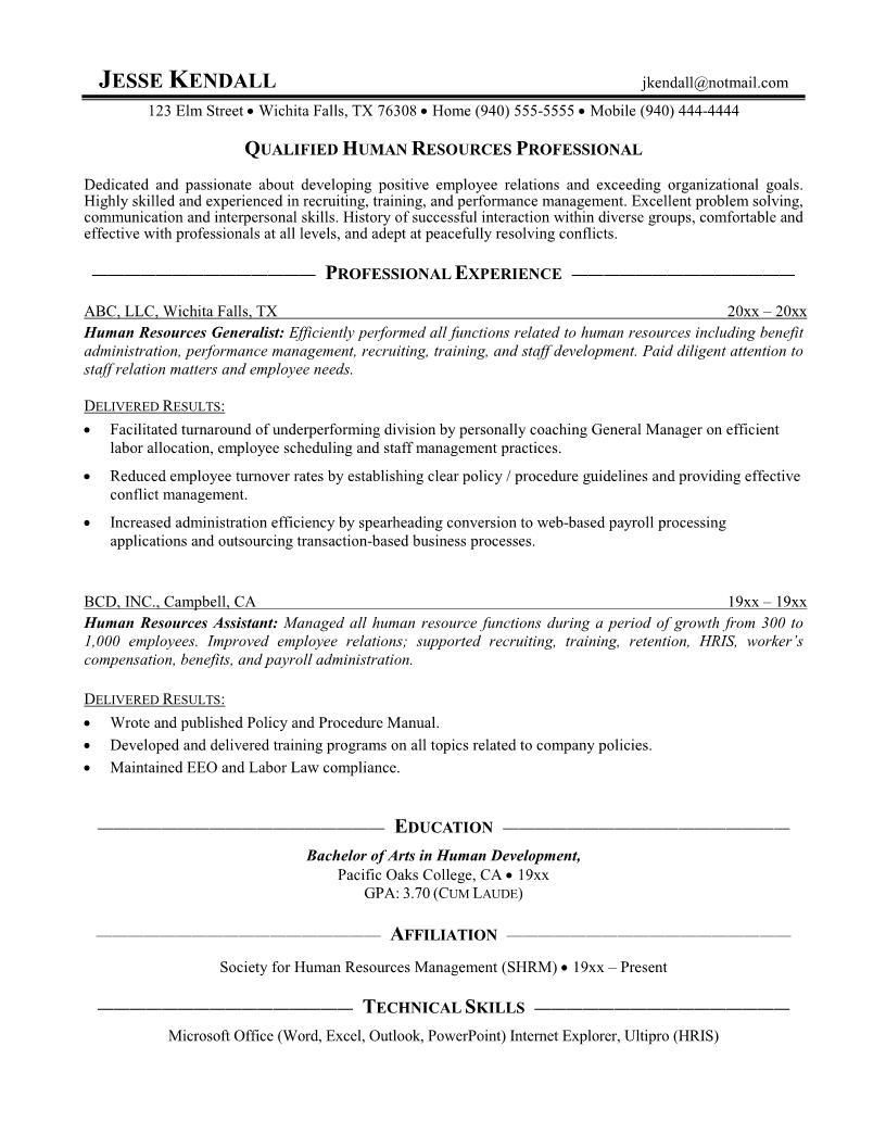 Free Resume Templates Human Resources Human Resources Human