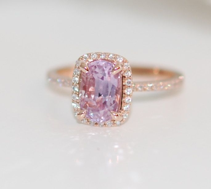 cushion gold sapphire lavender white diamond ring rings media light engagement