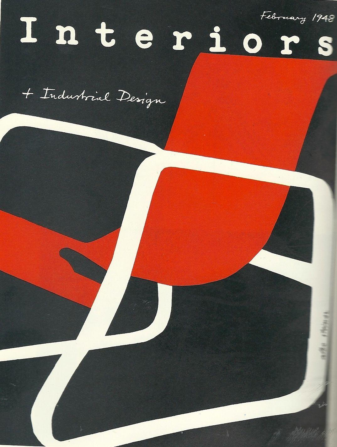 Albe steiner copertina di interiors new york in rosso for Riviste interior design