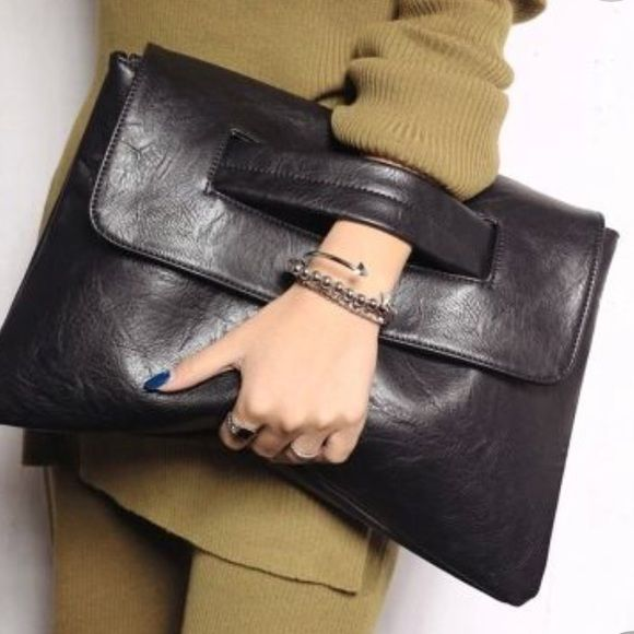 Black Large clutch Super cute large synthetic leather clutch in ...