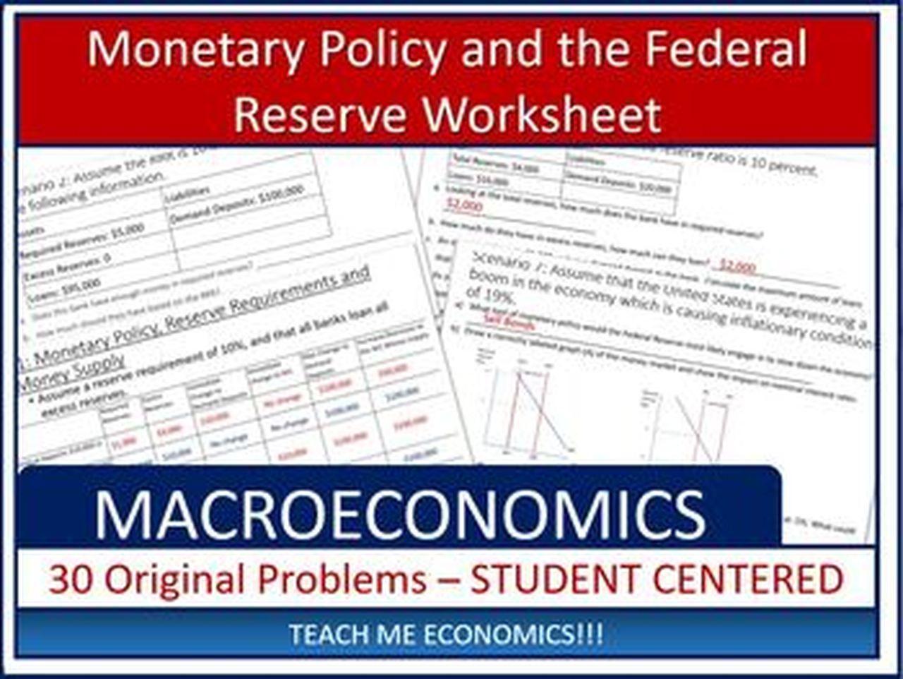 Federal Reserve Worksheet 30 Problem Sets Economics