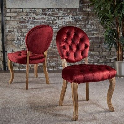 Red Tufted Dining Chair Exercise Ball For Back Pain Christopher Knight Home Set Of 2 Xenia Chairs Garnet