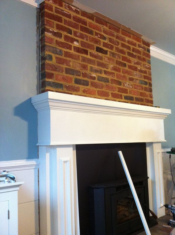 Marvelous Installing Mantel Over Brick Fireplace By Crown Molding In Download Free Architecture Designs Momecebritishbridgeorg