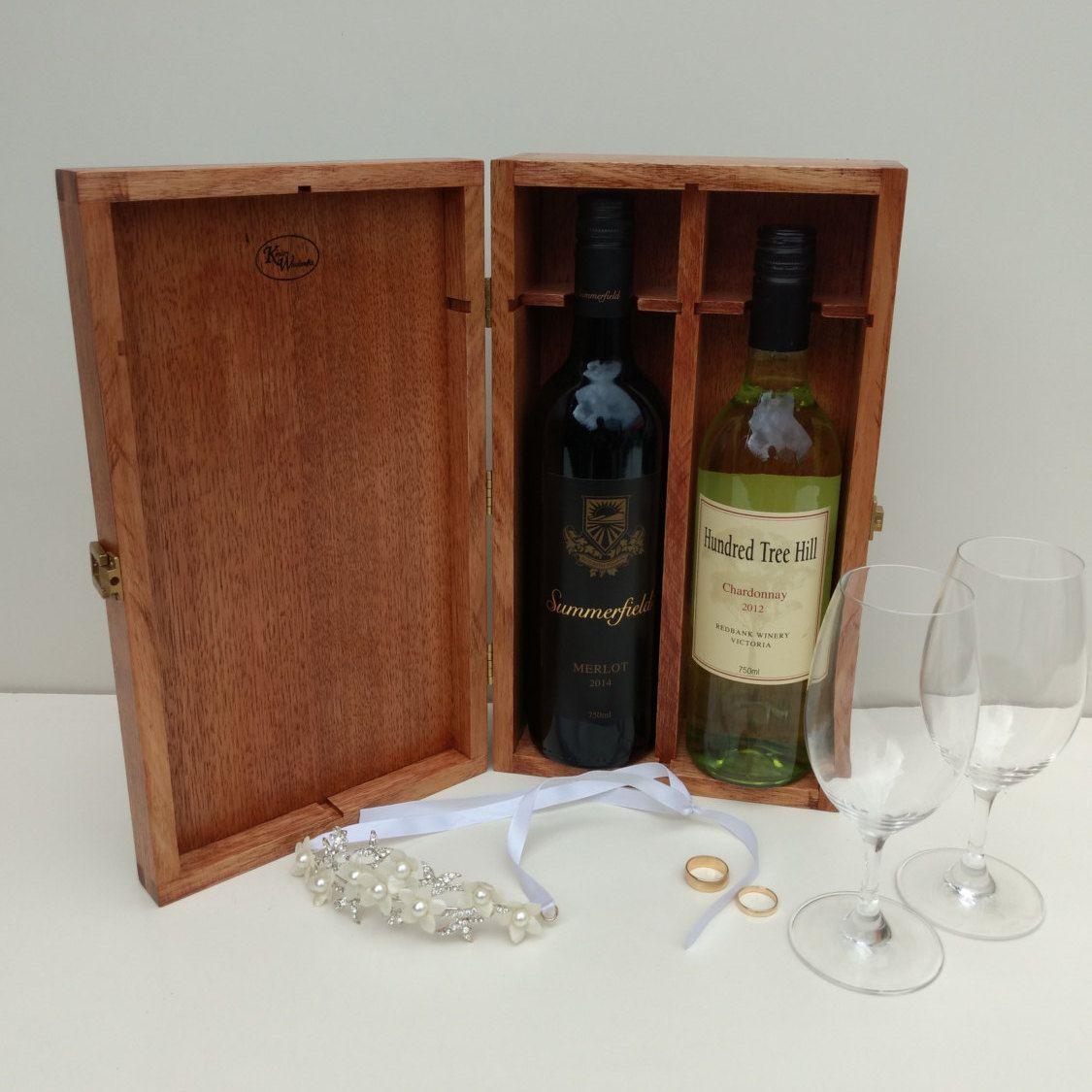 Wooden Double Wine Bottle Box - Reclaimed Australian Oak - Mahogany Stain - Brass Fittings by & Wooden Double Wine Bottle Box - Reclaimed Australian Oak ... Aboutintivar.Com