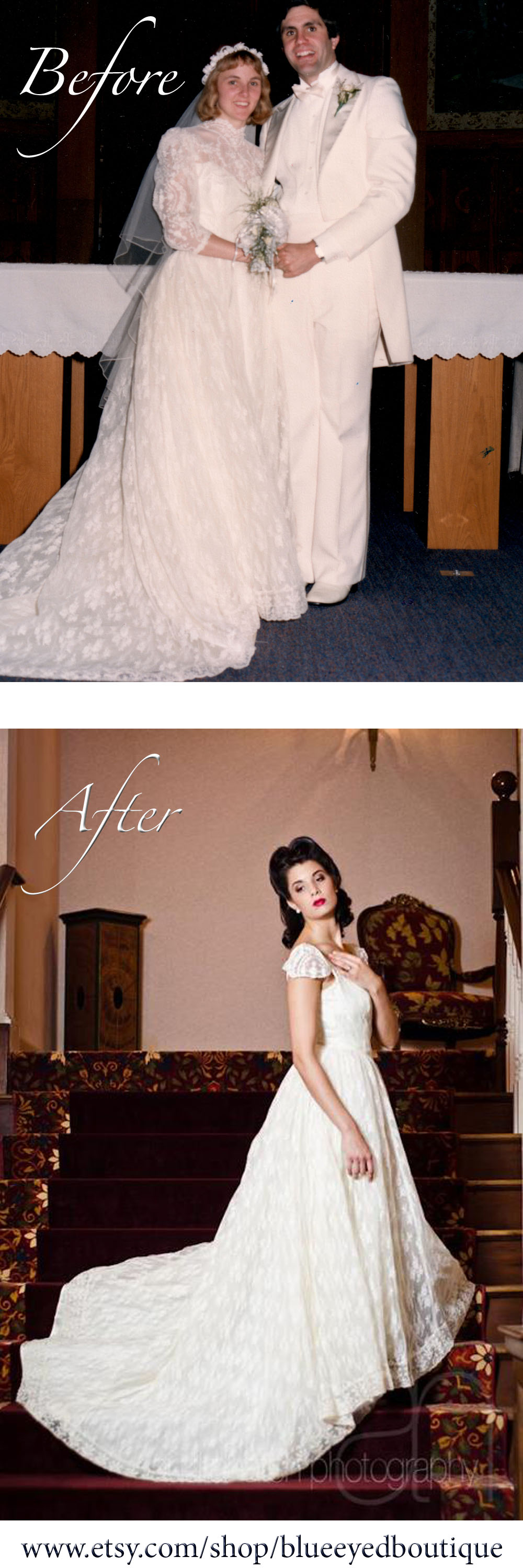 Marie Vintage 1950's style upcycled lace wedding gown