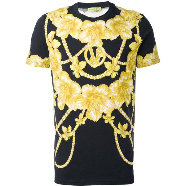 41ad95d9 Versace Jeans chains and flowers printed T-shirt (€155) ❤ liked on ...