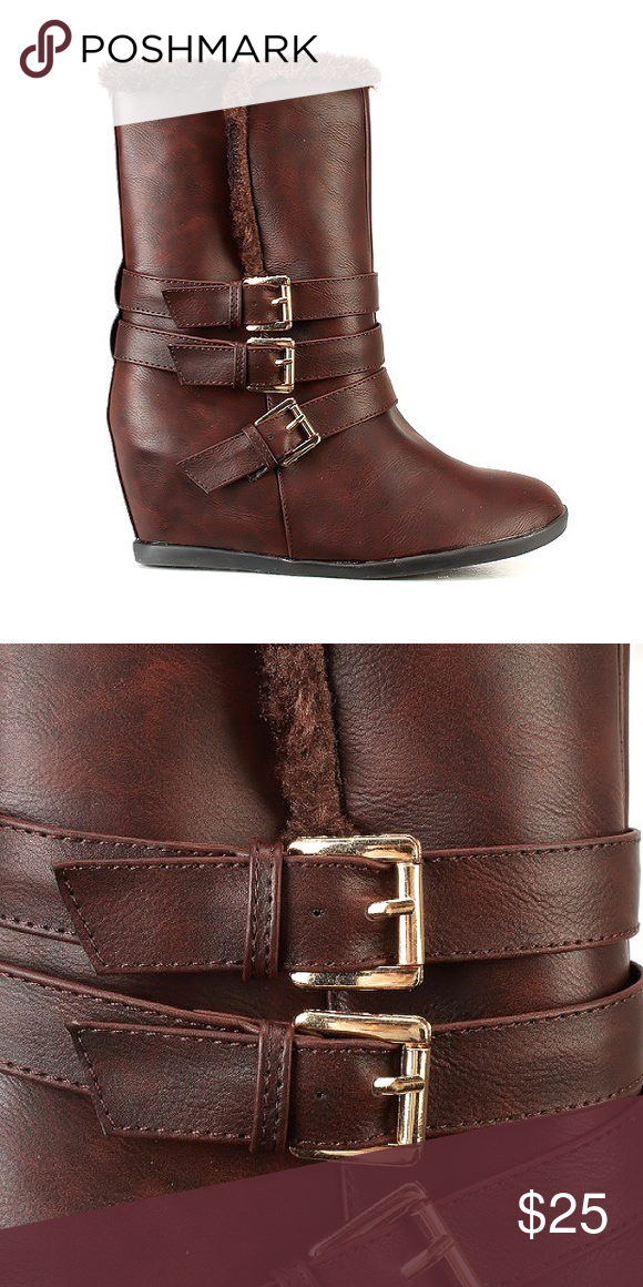 Dark Brown Faux Leather Buckle Boots!