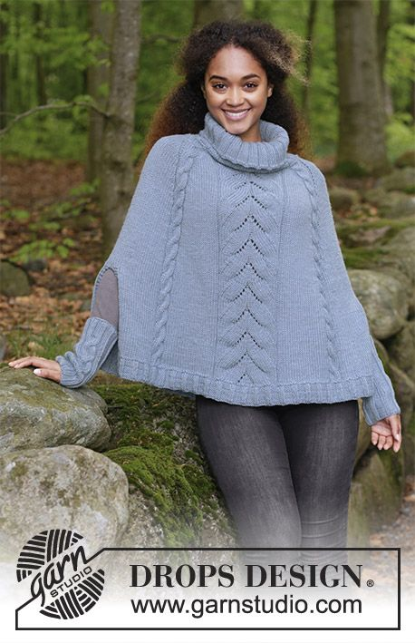The set consists of: Knitted poncho with cables and lace pattern ...