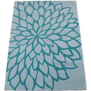 Tesco Large Flower Rug, Teal 150X240cm - Polyvore