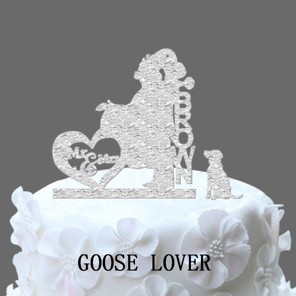 Personalize name acrylic wedding cake toppersilhouette couple mr