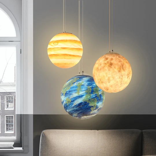 Planet Star Pendant Lamp 3d Printing Ceiling Light E26 E27 Led Bulb Ceiling Light For Home Office Bars And Cafe In 2020 Ceiling Lights Star Pendant Lamp Star Lights On Ceiling
