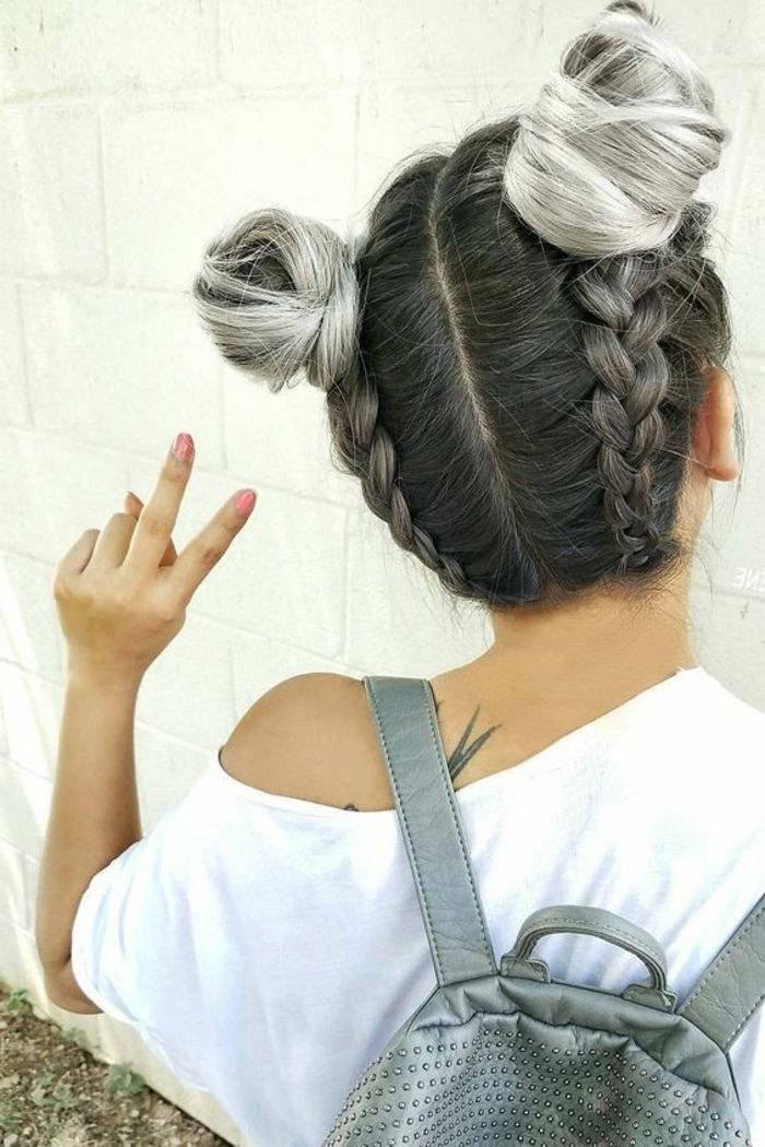 1001 Tutoriels Et Idees Comment Faire Une Tresse Soi Meme Coiffure Tresse Coiffure Coiffures Cheveux Gris