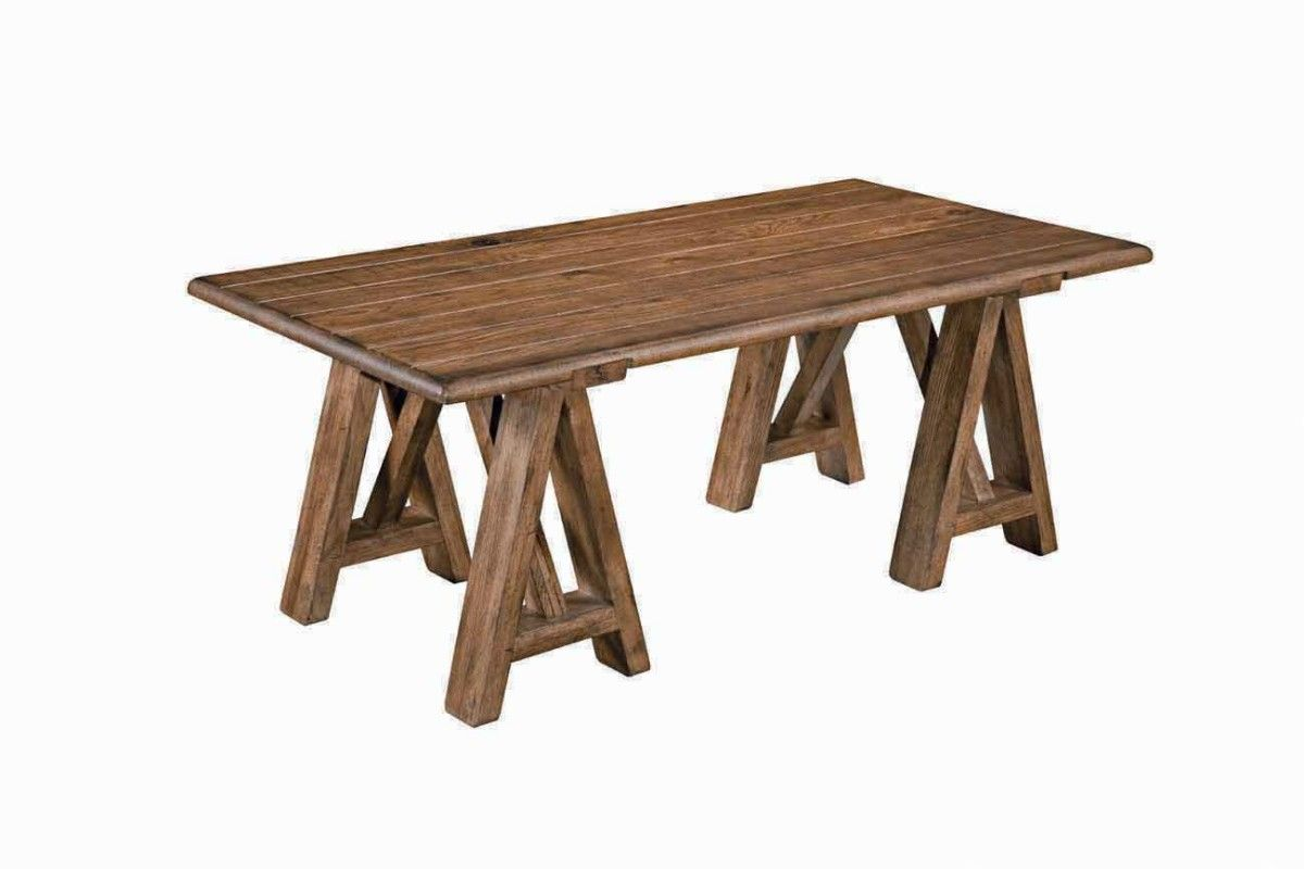 Kincaid Homecoming Solid Wood Sawhorse Cocktail Table in Vintage Oak 34-023
