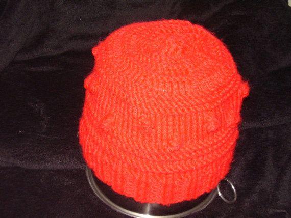 Knitted red winter bobble hat by TenderTatter on Etsy, $10.00