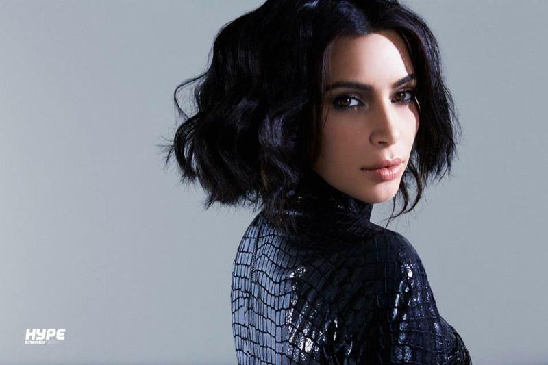 Kim Kardashian wears black bob in Hype Energy promo