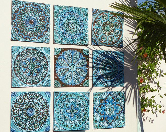 Set Of 10 Ceramic Tiles For Garden Decor Wall Sculpture Etsy Moroccan Wall Art Mandala Wall Decor Mandala Wall Art