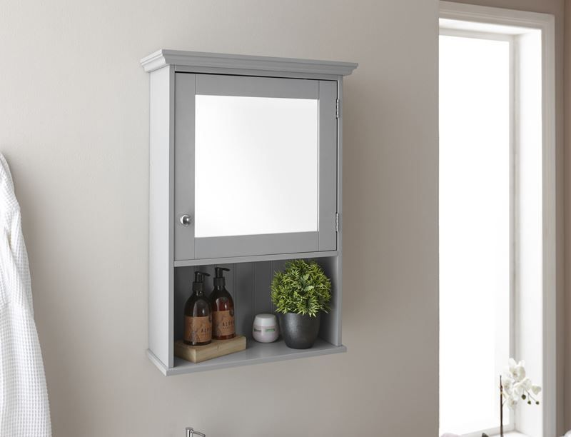 Colonial Range Bathroom Mirrored Cabinet Cupboard Storage Unit Grey