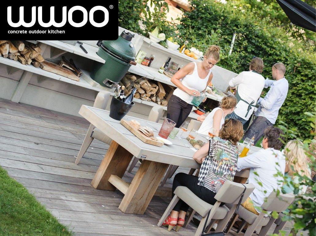Wwoo buitenkeuken met big green egg en pitt cooking tuin en