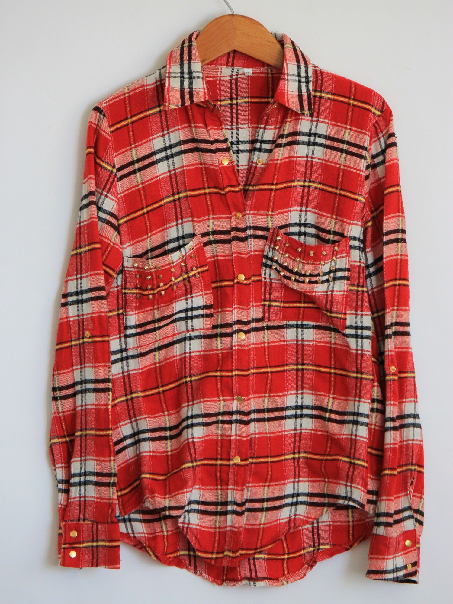 Flannel over shirt  Studded Red Flannel  Your perfect plaid button down for those