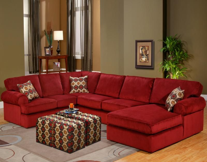 Artwork of Red Microfiber Sectionals Highlight Your Living ...