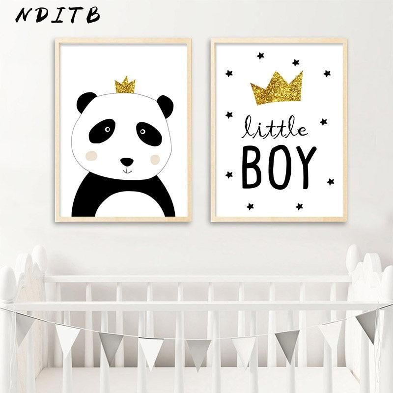 Cartoon Panda Canvas Poster Wall Art Nursery Print Painting Nordic Kids Decoration Nursery Canvas Panda Nursery Canvas Poster