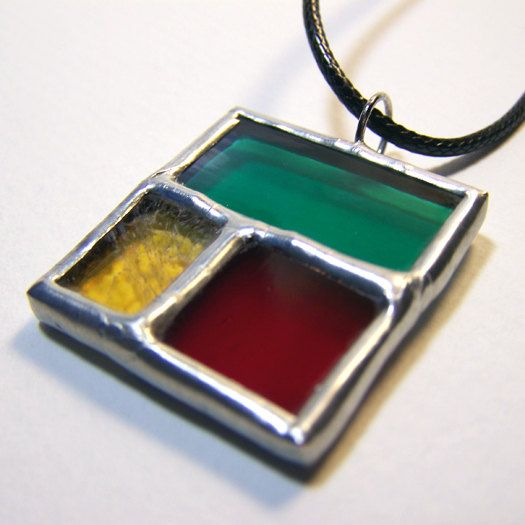 Intersection  Stained Glass Pendant by faerieglass on Etsy