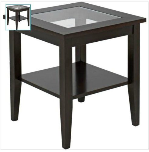 Ashcroft Dark Wood Veneer End Table With Glass