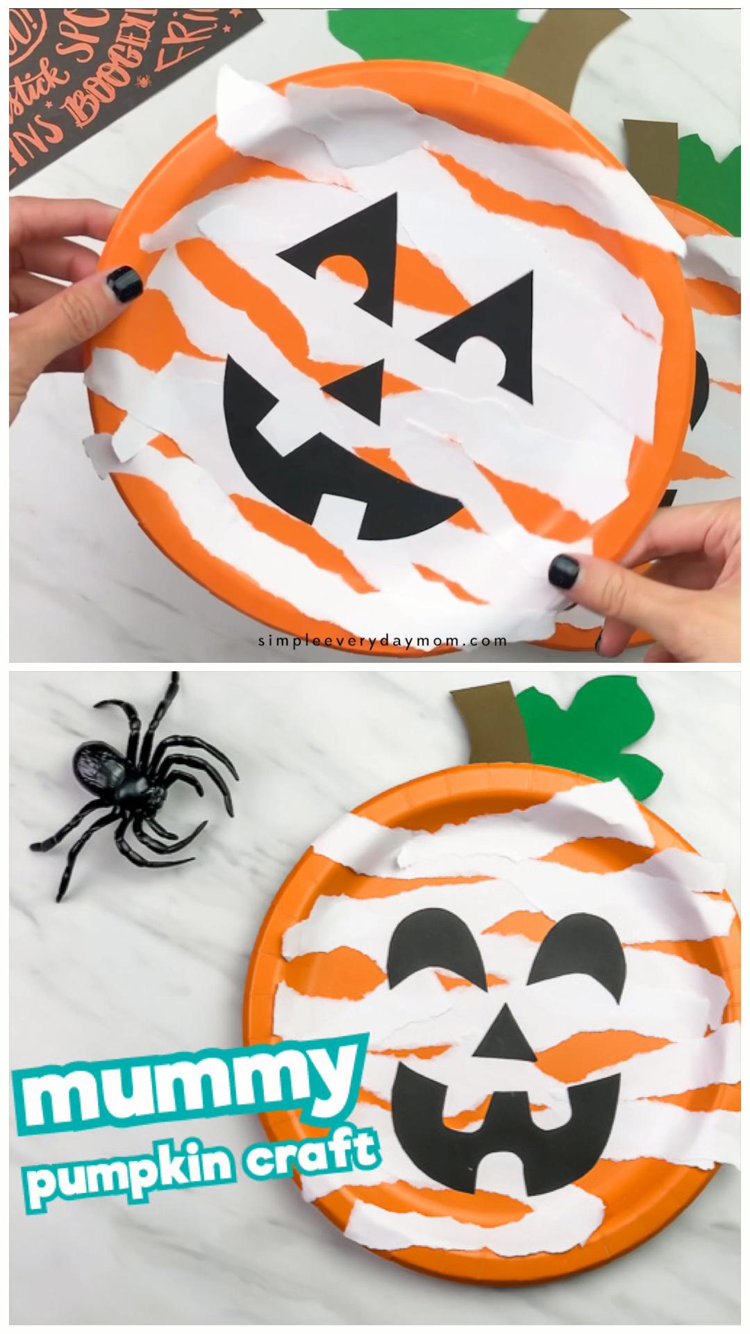 Paper Plate Pumpkin Craft  #pumpkincraftspreschool