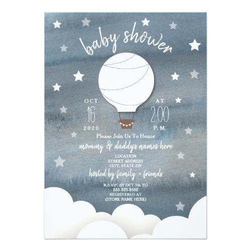 White Hot Air Balloon + Stars Neutral Baby Shower Invitation | Zazzle.com