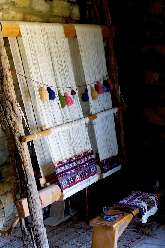 Carpet weaving demonstration. Gala village, Baku. Azerbaijan..
