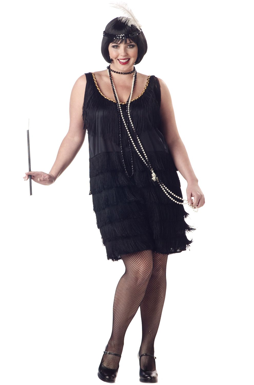 Plus Size Fashion Flapper Costume (Black) en 2020
