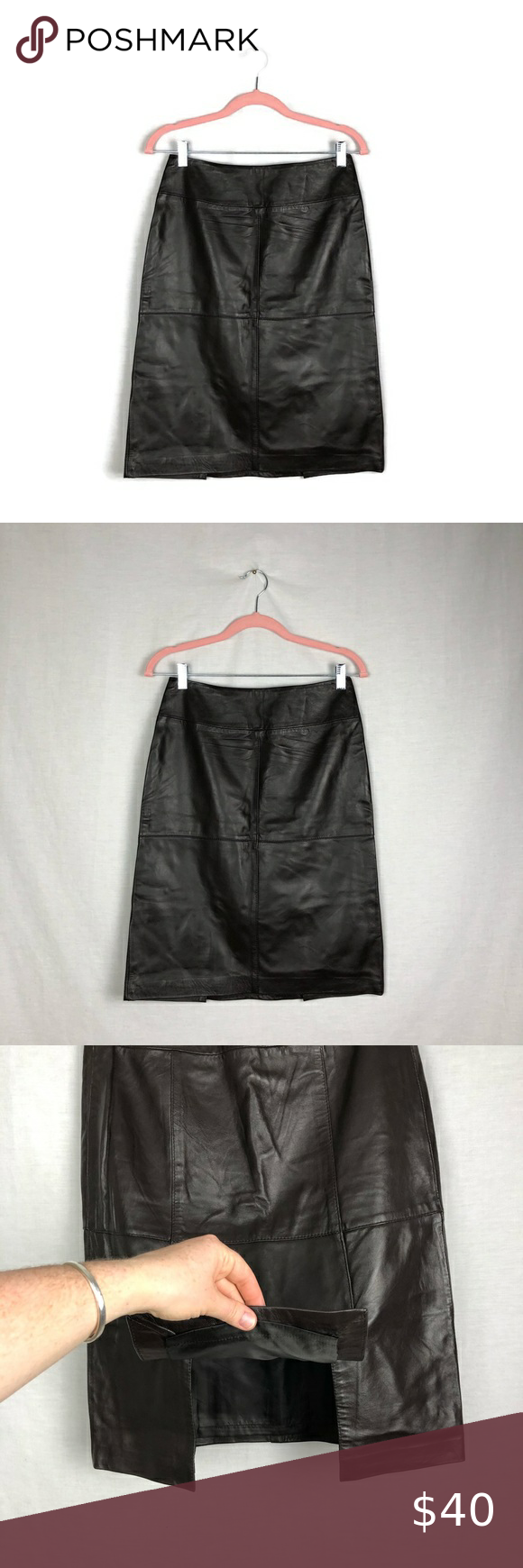 Jaclyn Smith Brown Pencil Leather Skirt Size Small