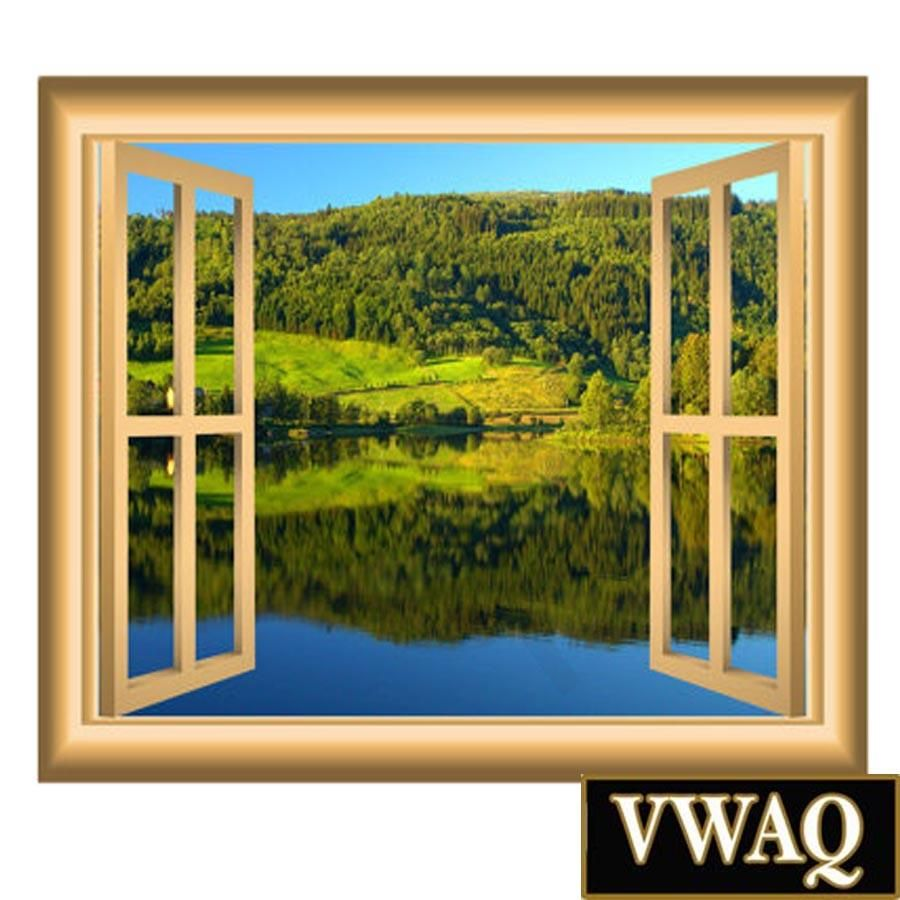 VWAQ Peel And Stick Meadow Lake With Forest Scene Window