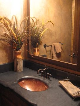 Mill Canyon Lodge - Tour of Homes - traditional - powder room - tampa - Inside Eye Design  HONED GRANITE