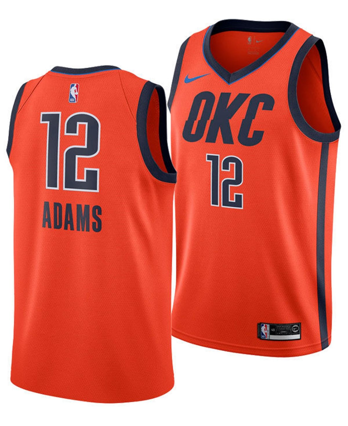Nike Men S Steven Adams Oklahoma City Thunder Earned Edition Swingman Jersey Orange Oklahoma City Thunder Nike Men Oklahoma City