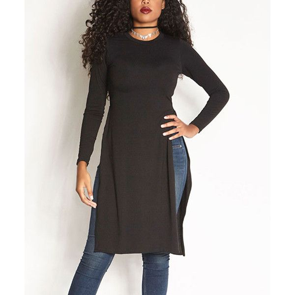 Rebdolls Black Longline Side Slit Tunic ($25) ❤ liked on Polyvore featuring plus size women's fashion, plus size clothing, plus size tops and plus size tunics