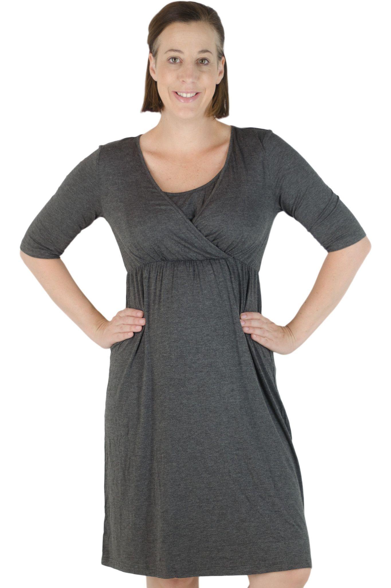 Latched Mama 3/4 Sleeve V-neck Nursing Dress