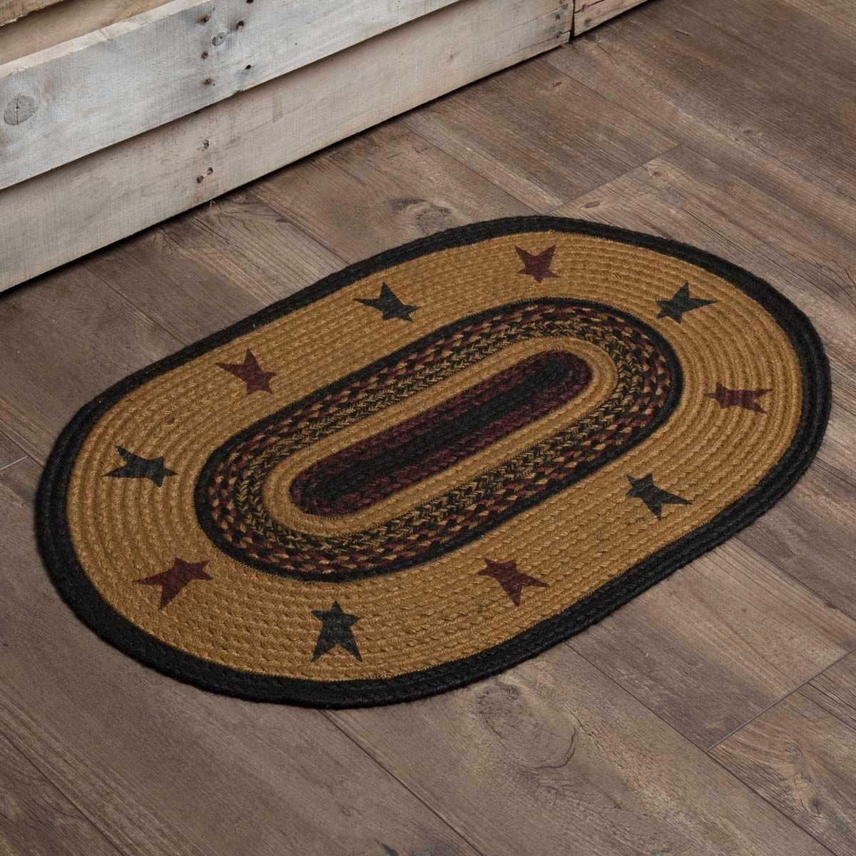 Yellow Primitive Flooring Vhc Heritage Farms Star Rug Jute Stenciled Oval 1 8 X 2 6 Oval Rugs Primitive Homes Primitive Stars