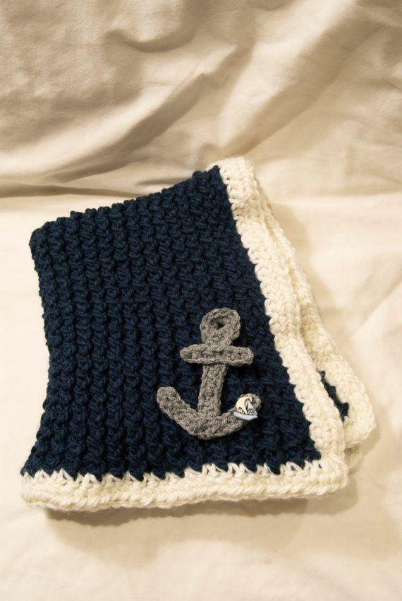 Handmade crochet baby nautical blanket navy by ...
