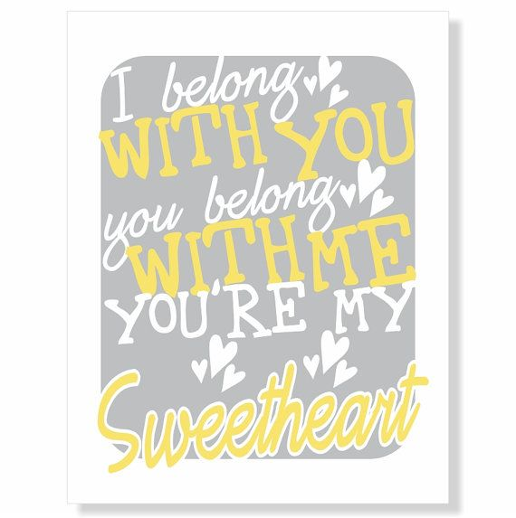 Typography Art Print yellow grey white - You\'re My Sweetheart - love ...