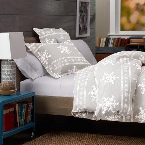 Pinzon 160 Gram Printed Cotton Flannel Full Queen Duvet Cover Snowflake Gray