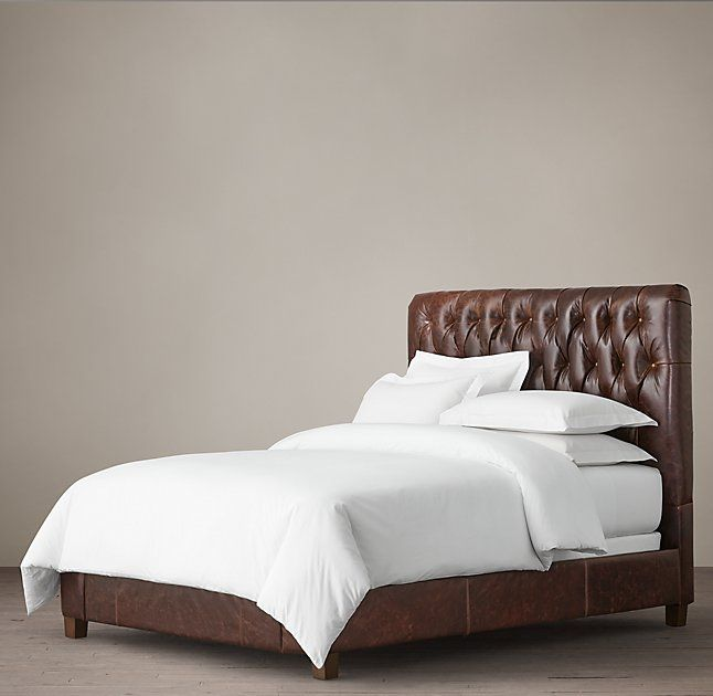KAH says Fairmont Leather Bed--Distressed Ebony leather New