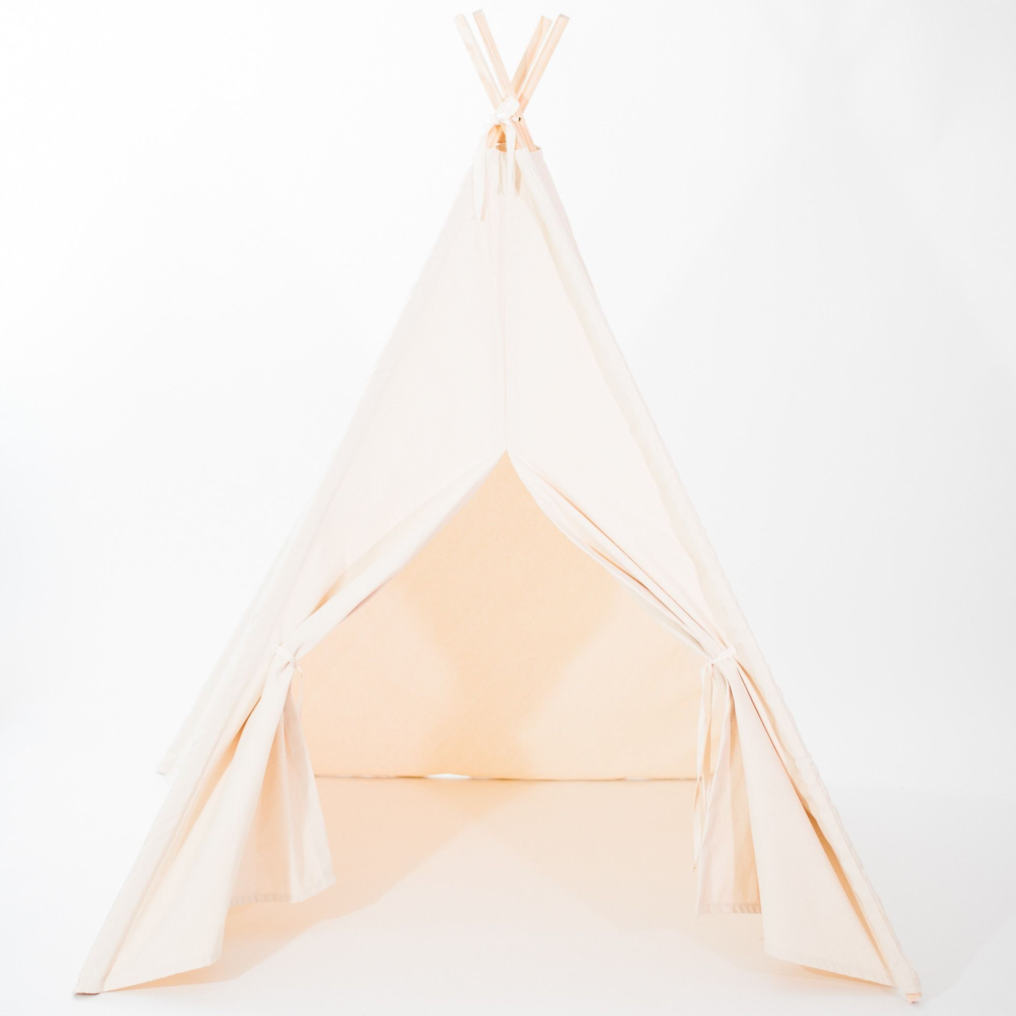 Natural or White Canvas Teepee Tent with Door Ties Also Available in ORGANIC FABRIC & Natural or White Canvas Teepee Tent with Door Ties Also Available ...