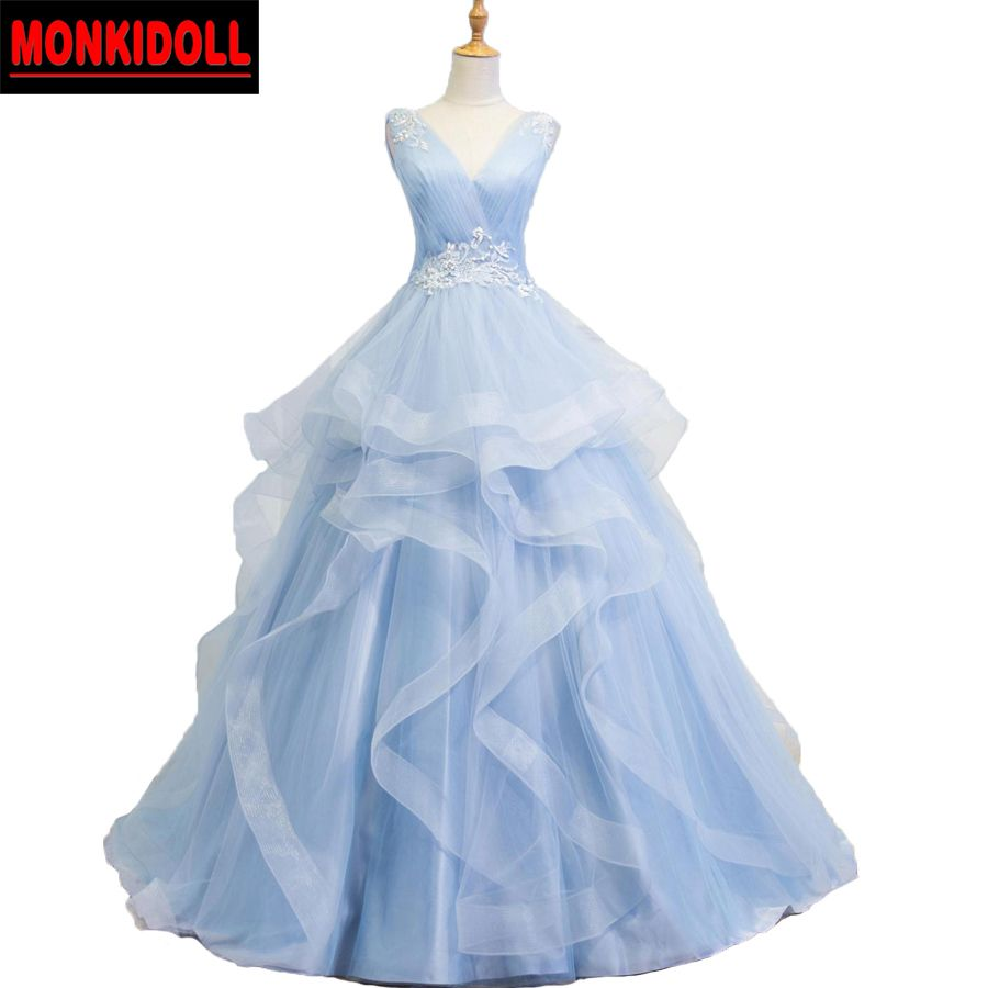 >> Click to Buy << Sky Blue Puffy Prom Dresses Ball Gown V Neck Custom Made Applique Lace Tulle Evening Party Gowns Debutante Dress vestido de fest #Affiliate