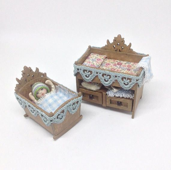 ROCKING CRADLE 1:24 HALF SCALE DOLLHOUSE MINIATURES Heirloom Collection