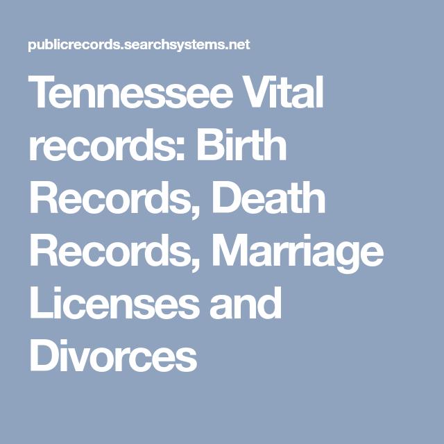 Tennessee Vital Records Birth Records Death Records Marriage