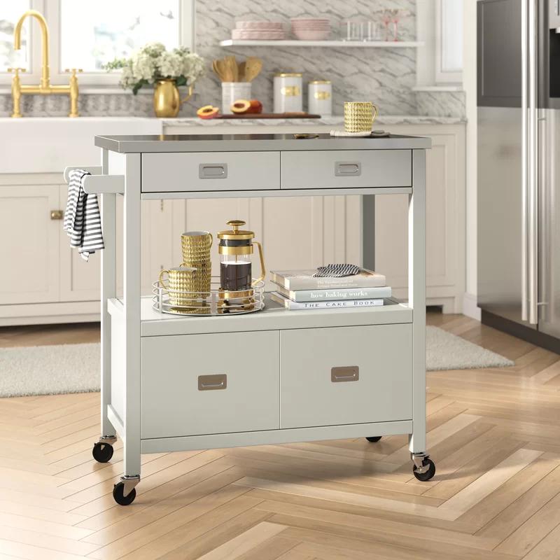 Eira Kitchen Cart Stainless Steel Kitchen Cart Kitchen Storage Solutions Kitchen Island On Wheels