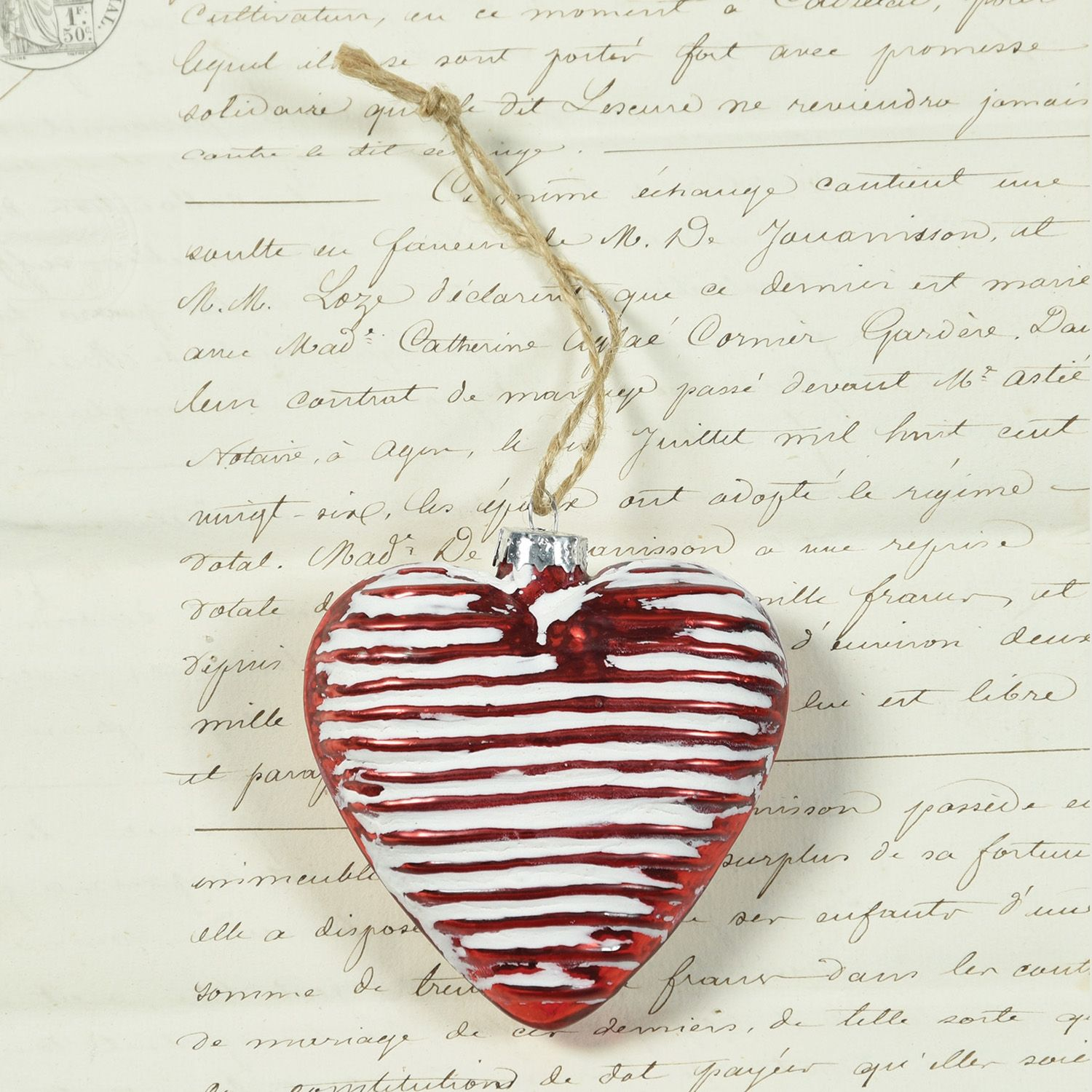 Glass heart christmas ornaments - Red Ribbed Glass Heart Ornament Set Of 3 By Homart Seven Colonial